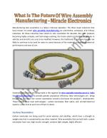 What Is The Future Of Wire Assembly Manufacturing - Miracle Electronics