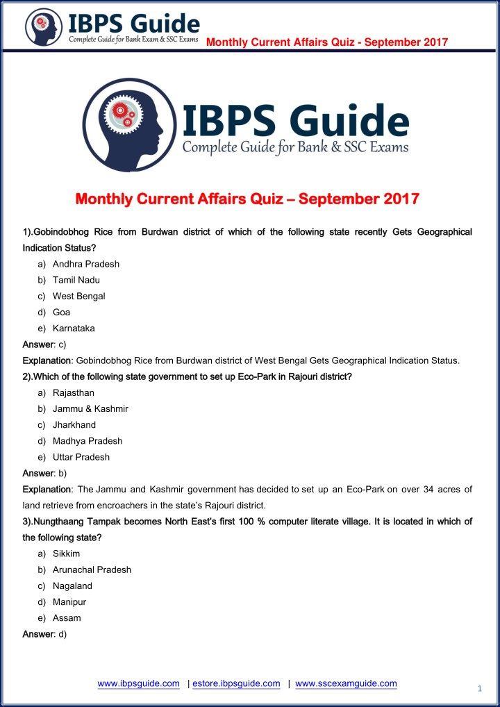 monthly current affairs quiz september 2017 n.