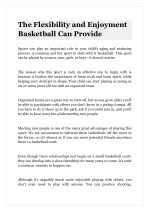 The Flexibility and Enjoyment Basketball Can Provide