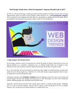 Web Design Trends that a Web Development Company Should Look in 2017