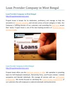 Loan Provider Company in West Bengal