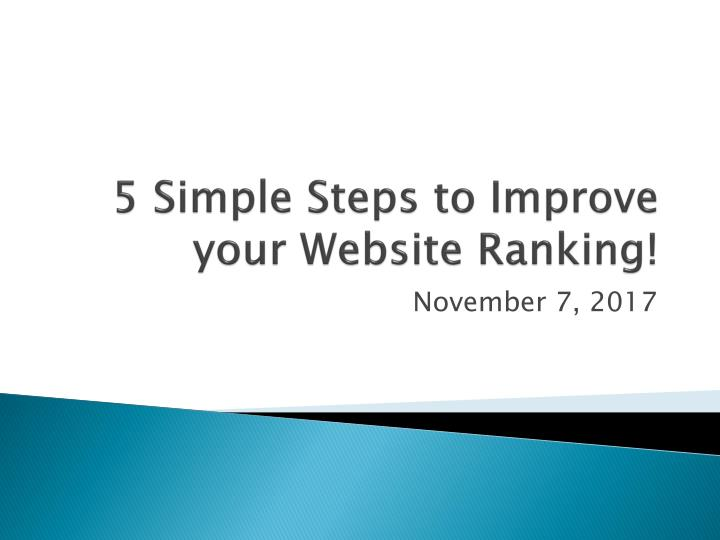5 simple steps to improve your website ranking n.