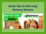 Quick Tips to Hire Long Distance Movers