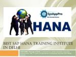 Best Sap Hana Training Institute in Delhi, Sap Hana Course Delhi