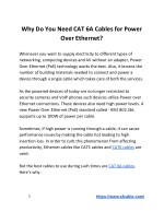 Why Do You Need CAT 6A Cables for Power Over Ethernet?
