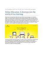 Online Education: A doorway into the world of true learning