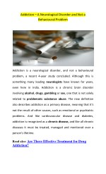 What is Addiction? – Is it a Neurological Disorder or Behavioural Problem?