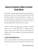 Types of Computer Cables You Must Know About