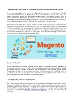 Common Mistakes that Should be Avoided For Successful Magento Development Services