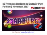 50 free spins starburst no deposit – play for free November 2017