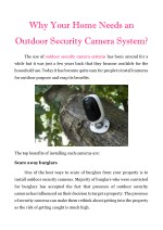Why Your Home Needs An Outdoor Security Camera System?