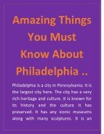 Amazing Things You Must Know About Philadelphia