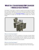What Is A Transformer Tap Changer - Miracle Electronics
