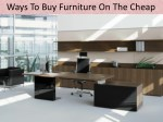 Ways To Buy Furniture On The Cheap