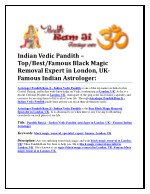Indian Vedic Pandith – Top/Best/Famous Black Magic Removal Expert in London, UK-Famous Indian Astrologer: