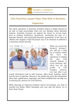 USA Franchise Lawyer Plays Vital Role In Business Expansion