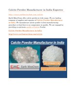 Calcite Powder Manufacturer in India Exporter