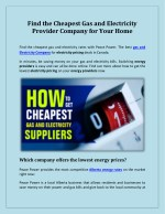 Find the Cheapest Gas and Electricity Provider Company for Your Home – Peace Power