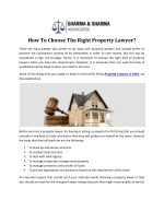 How To Choose The Right Property Lawyer?