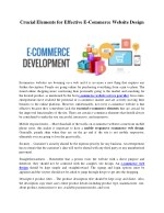 Crucial Elements for Effective E-Commerce Website Design