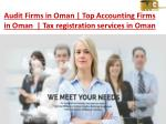 Audit Firms in Oman | Top Accounting Firms in Oman | Tax Registration Services in Oman