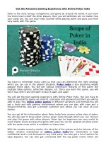 Get the awesome gaming experience with Online Poker India