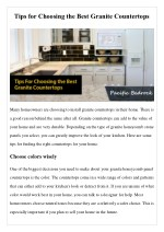 Tips for Choosing the Best Granite Countertops