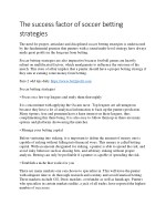 The success factor of soccer betting strategies