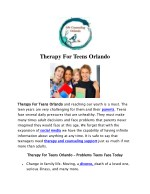 Therapy For Teens Orlando – Problems Teens Face Today