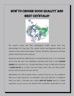 How to Choose Good Quality and Best Crystals