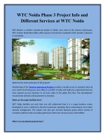 WTC Noida Phase 3 Project Info and Different Services at WTC Noida
