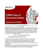 CBSE Class 12 Economics Notes - Features of Perfect Competition Market
