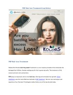 PRP for Hair loss treatment from Kolors