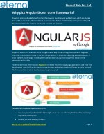 Why pick AngularJS over other frameworks?
