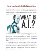 How to Learn About Artificial Intelligence in Jaipur