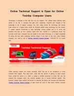 Online Technical Support is Open for Online Toshiba Computer Users