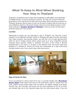 What To Keep In Mind When Booking Your Stay In Thailand