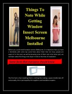 Things To Note While Getting Window Insect Screen Melbourne Installed