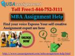 MBA Assignment Help Call Toll Free 1-844-752-3111