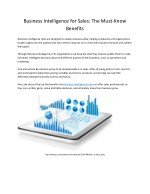 Business Intelligence for Sales: The Must-Know Benefits
