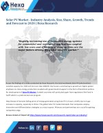 Global Solar PV Market is Expected to Witness Substantial Growth till 2020