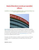 Bank of Baroda to recruit 427 specialist officers