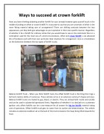 Ways to succeed at crown forklift