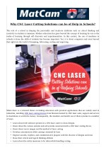 Why CNC Laser Cutting Solutions can be of Help in Schools?