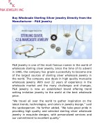 Buy Wholesale Sterling Silver Jewelry Directly from the Manufacturer - P&K Jewelry