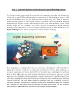 How to Increase Your Sales with Professional Digital Marketing Services
