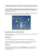 Weather Station Device - What Are The Types Of Sensors Used?