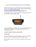 How To Choose A Weather Radio For Forecasting Needs?