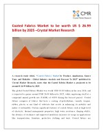 Coated Fabrics Market to be worth US $ 26.99 billion by 2025 –Crystal Market Research