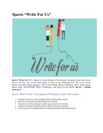 "Sports ""Write For Us"""